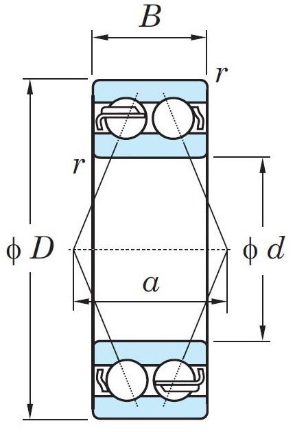 Схема шарикового двухрядного радиально-упорного подшипника