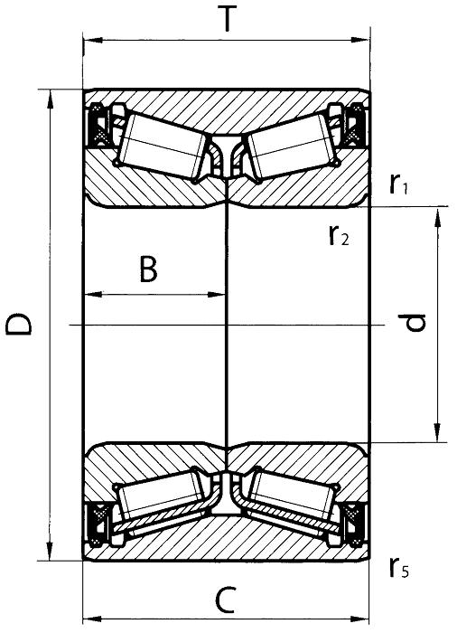 Схема (Чертеж) роликового двухрядного конического подшипника