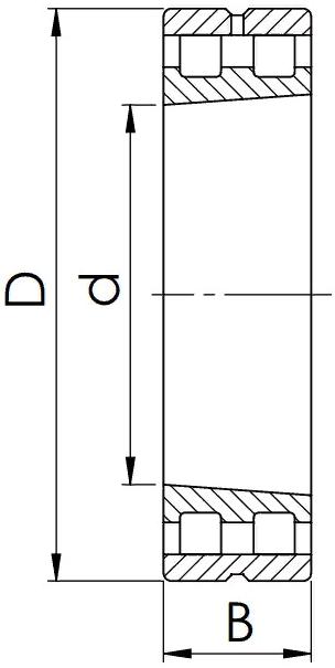 Схема (Чертеж) роликового радиального двухрядного подшипника с конической посадкой