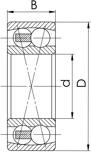 Схема (Чертеж) шариквого двухрядного самоустанавливающегося подшипника